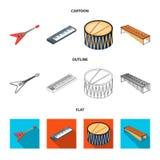 Muzikaal instrumentenbeeldverhaal, overzicht, vlakke pictogrammen in vastgestelde inzameling voor ontwerp Koord en Blaasinstrumen stock illustratie