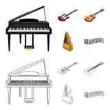 Muzikaal instrumentenbeeldverhaal, overzichtspictogrammen in vastgestelde inzameling voor ontwerp Koord en Blaasinstrument isomet vector illustratie