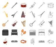 Muzikaal instrumentenbeeldverhaal, overzichtspictogrammen in vastgestelde inzameling voor ontwerp Koord en Blaasinstrument vector stock illustratie