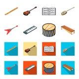 Muzikaal instrumentenbeeldverhaal, vlakke pictogrammen in vastgestelde inzameling voor ontwerp Koord en Blaasinstrument isometris stock illustratie
