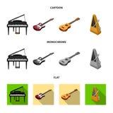 Muzikaal instrumentenbeeldverhaal, vlakke, zwart-wit pictogrammen in vastgestelde inzameling voor ontwerp Isometrisch koord en Bl vector illustratie