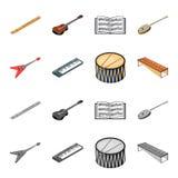 Muzikaal instrumentenbeeldverhaal, zwart-wit pictogrammen in vastgestelde inzameling voor ontwerp Koord en Blaasinstrument isomet vector illustratie