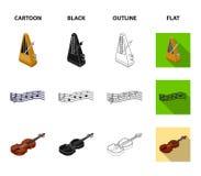 Muzikaal instrumentenbeeldverhaal, zwarte, overzicht, vlakke pictogrammen in vastgestelde inzameling voor ontwerp Isometrisch koo stock illustratie