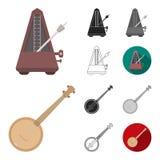 Muzikaal instrumentenbeeldverhaal, zwarte, vlak, zwart-wit, overzichtspictogrammen in vastgestelde inzameling voor ontwerp Koord  vector illustratie