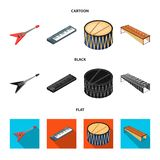 Muzikaal instrumentenbeeldverhaal, zwarte, vlakke pictogrammen in vastgestelde inzameling voor ontwerp Koord en Blaasinstrument i vector illustratie