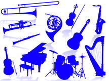 Muzikaal instrumentensilhouet Royalty-vrije Stock Foto's