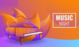 muzikaal nachtenconceptontwerp met piano stock illustratie