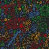Muzikaal patroon voor affiches, banners Muziekfestival, karaoke, disco, rots vector illustratie
