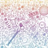 Muzikaal patroon voor affiches, banners Muziekfestival, karaoke, disco, rots stock illustratie