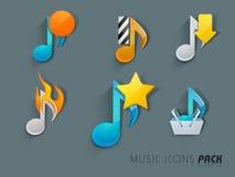 Muzikaal pictogram met muzieknoten royalty-vrije illustratie