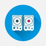 Muzikaal stereosprekers vectorpictogram op blauwe achtergrond Vlakke ima royalty-vrije illustratie