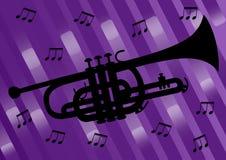 Muzikaal vliegerontwerp met zwart trompetsilhouet en muzieknoten op donkere purpere samenvatting bakcground muzikaal stock illustratie