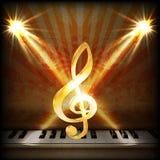 Muzikale achtergrond met g-sleutel en pianosleutelsuno stock illustratie