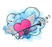 Muzikale achtergrond met hart en trompet stock illustratie