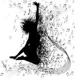 Muzikale achtergrond met notas Stock Afbeelding