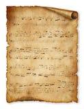 Muzikale achtergrond, oud document, nota, Stock Foto