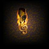 Muzikale achtergrondbrandonderbreking met een akoestische gitaar stock illustratie