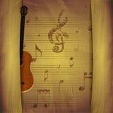 Muzikale Achtergrondgitaar oude bladen royalty-vrije illustratie