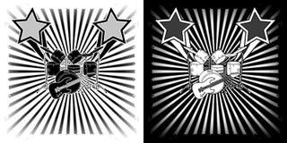 Muzikale achtergrondtrommeluitrusting en gitaar zwarte witte clipart stock illustratie