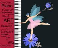 Muzikale banner Abstracte tekst op rode achtergrond, pianotoetsenborden en weinig gevleugelde fee-ballerina in roze tutu op blauw vector illustratie