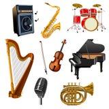 Muzikale geplaatste instrumenten royalty-vrije illustratie