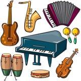 Muzikale geplaatste instrumentenpictogrammen Royalty-vrije Stock Foto's