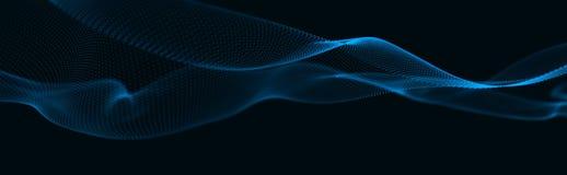 Muzikale golf van deeltjes Correcte structurele verbindingen Abstracte achtergrond met een golf van lichtgevende deeltjes 3d golf royalty-vrije illustratie