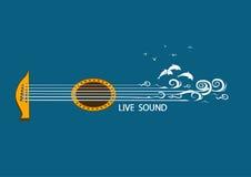 Muzikale illustratie met conceptengitaar Stock Foto's