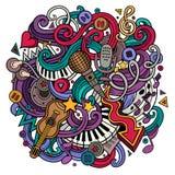 Muzikale illustratie van beeldverhaal hand-drawn krabbels Stock Fotografie