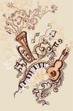 Muzikale illustraties. stock afbeelding