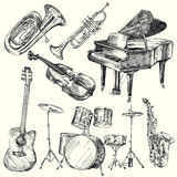 Muzikale instrumenten Stock Afbeeldingen