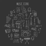 Muzikale instrumenten en symbolen Stock Afbeelding