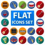 Muzikale instrumenten vlakke pictogrammen in vastgestelde inzameling voor ontwerp Koord en Blaasinstrument het vectorweb van de s stock illustratie