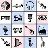 Muzikale instrumenten zwarte reeks vector illustratie