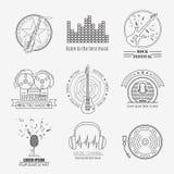 Muzikale instrumentenemblemen en kentekens Grafisch malplaatje Royalty-vrije Stock Afbeelding