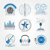 Muzikale instrumentenemblemen en kentekens Grafisch malplaatje Royalty-vrije Stock Afbeeldingen