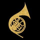 Muzikale Instrumentenhoorn, die in Symfonieorkesten en Messing Nands wordt gebruikt Vector illustratie vector illustratie