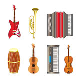 Muzikale instrumentenpictogrammen Stock Foto's