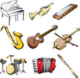 Muzikale instrumentenpictogrammen Royalty-vrije Stock Afbeeldingen