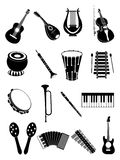 Muzikale instrumentenpictogrammen royalty-vrije illustratie