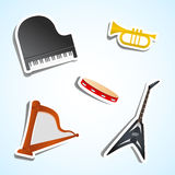 Muzikale instrumentenpictogrammen Royalty-vrije Stock Foto
