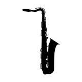 Muzikale Instrumentensaxofoon die Jazz Music Direction speelt Ve vector illustratie
