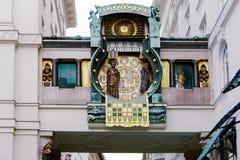 Muzikale klok Anker (Ankeruhr) Wenen, Oostenrijk Royalty-vrije Stock Foto
