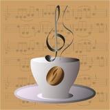 Muzikale koffiekop met kleurenvariaties stock illustratie