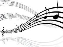 Muzikale lijnen met nota's Stock Fotografie