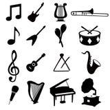 Muzikale pictogrammen Stock Afbeelding