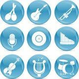 Muzikale pictogrammen op blauwe glanzende ballen Stock Foto