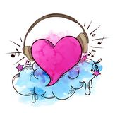 Muzikale retro achtergrond met hart stock illustratie