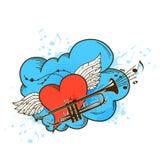 Muzikale retro achtergrond met roze hart royalty-vrije illustratie