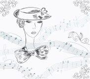 Muzikale uitnodigingskaart met dame vector illustratie